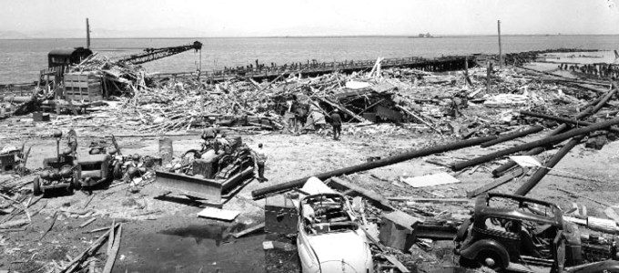 Picture showing the wreckage at Port Chicago